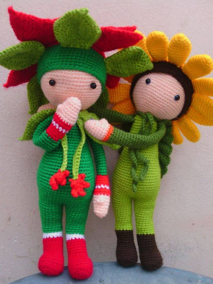 Christmas Star Kris and Sunflower Sam made by Silvia J - crochet pattern by Zabbez