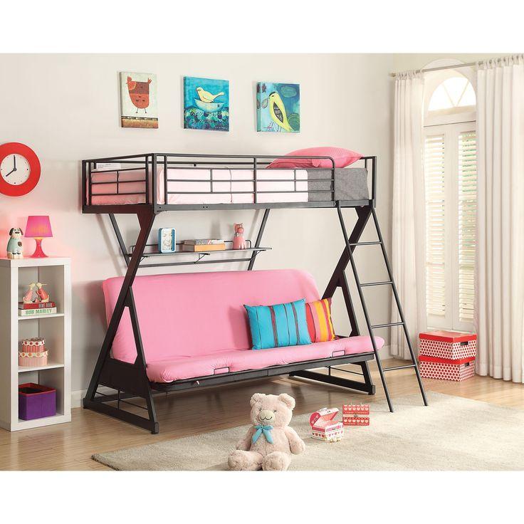 Zazie Sandy Black Metal Twin over Full Futon Bed with Bookshelf