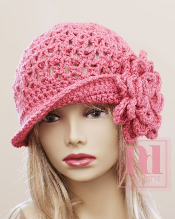 Free Crochet Cowboy Hat Pattern For Adults : Chain Link Newsboy Hat Crochet Pattern with Bonus Flower ...