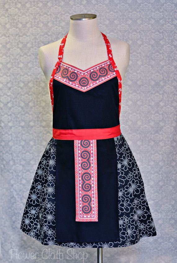 V-neck Swirl Apron in red black with Pleated Bottom / Hmong Inspired