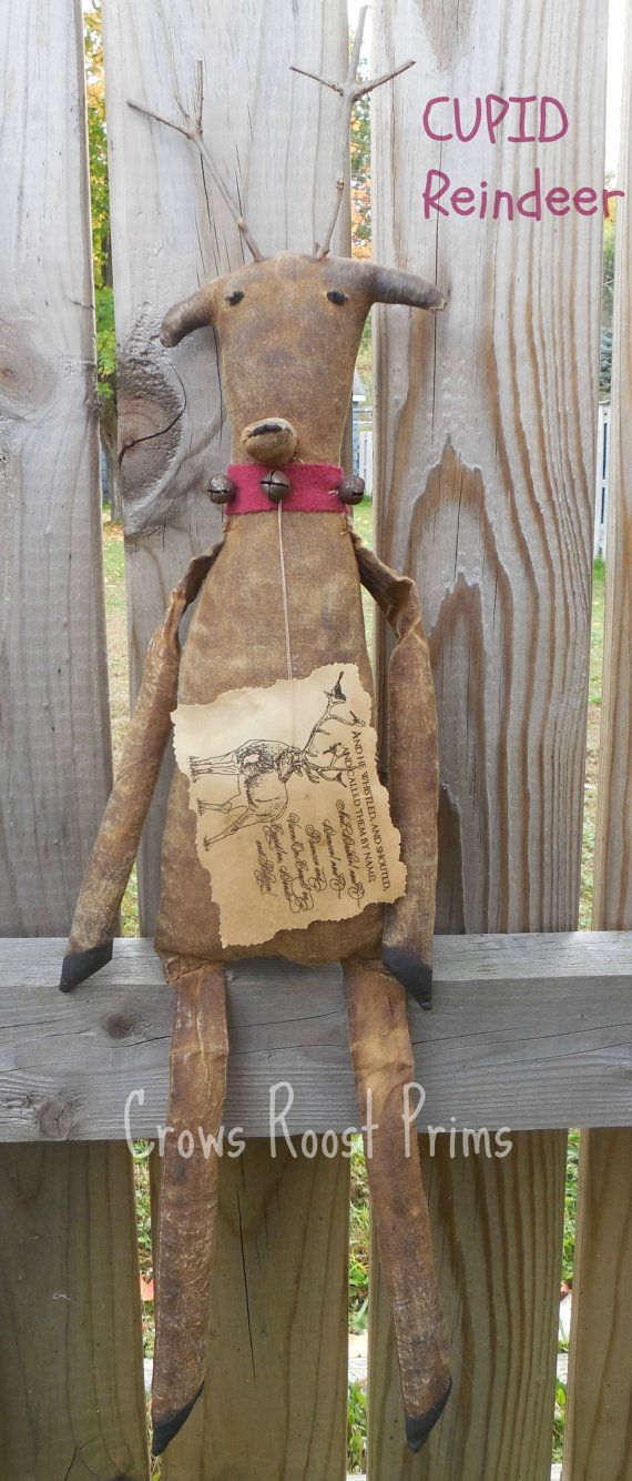 1 Primitive Christmas Cupid Reindeer animal by CrowsRoostDolls