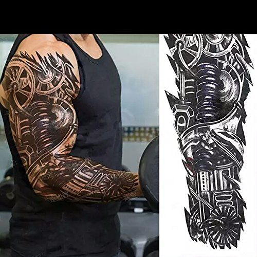 Machine Man Fake Tattoo Sleeve Unisex Temporary Tattoos Body Art Metallic Body Stickers 3d Body Glam Size Large Body Glam Fake Tattoo Sleeves Body Art Tattoos