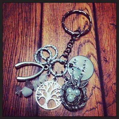 Handmade by Daysie Chains  Handstamped Wedding Charm Keyring