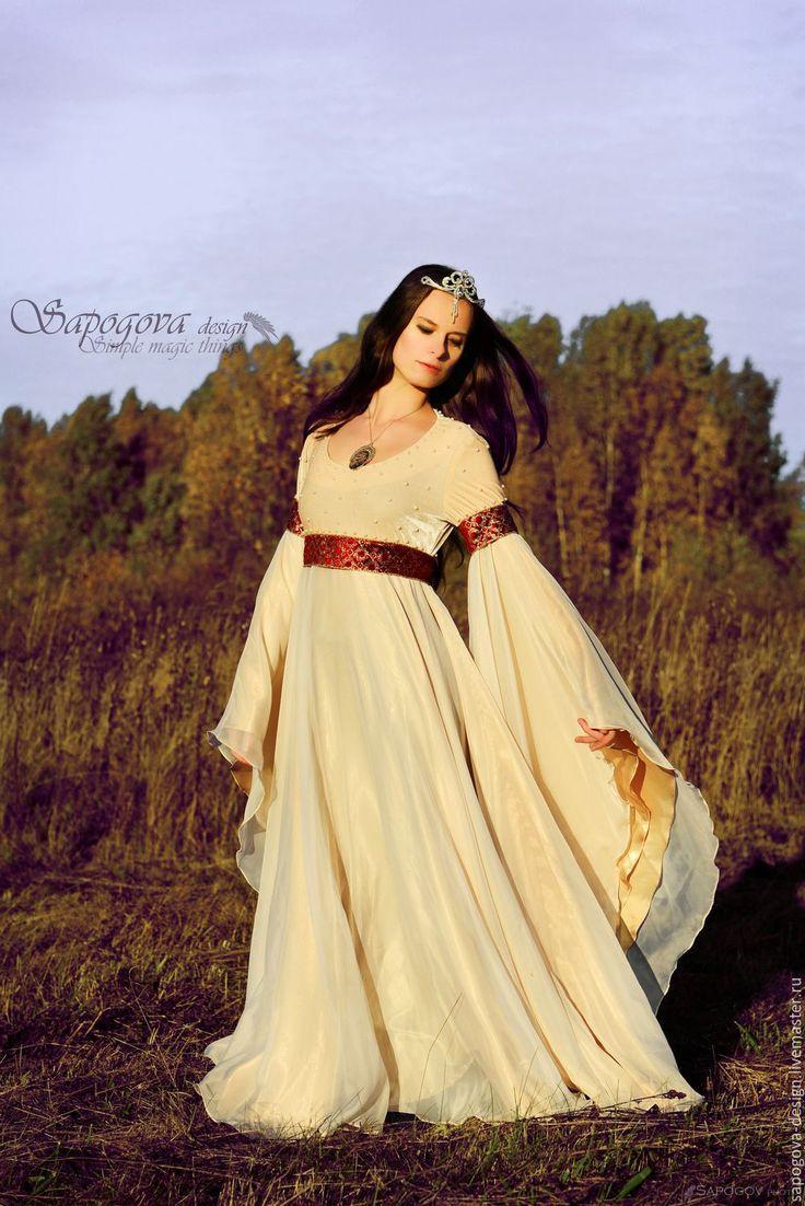 """Волшебное свадебное платье """"Королева Элис"""" - жемчужное свадебное, платье фэнтези, эльфийское платье"""