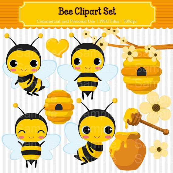 Bee Clipart Set  For Commercial and by MonChouClipartStore on Etsy, $3.50