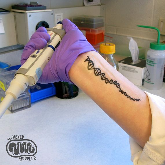 DNA temporary tattoo  fun and geeky science lab por theVexedMuddler