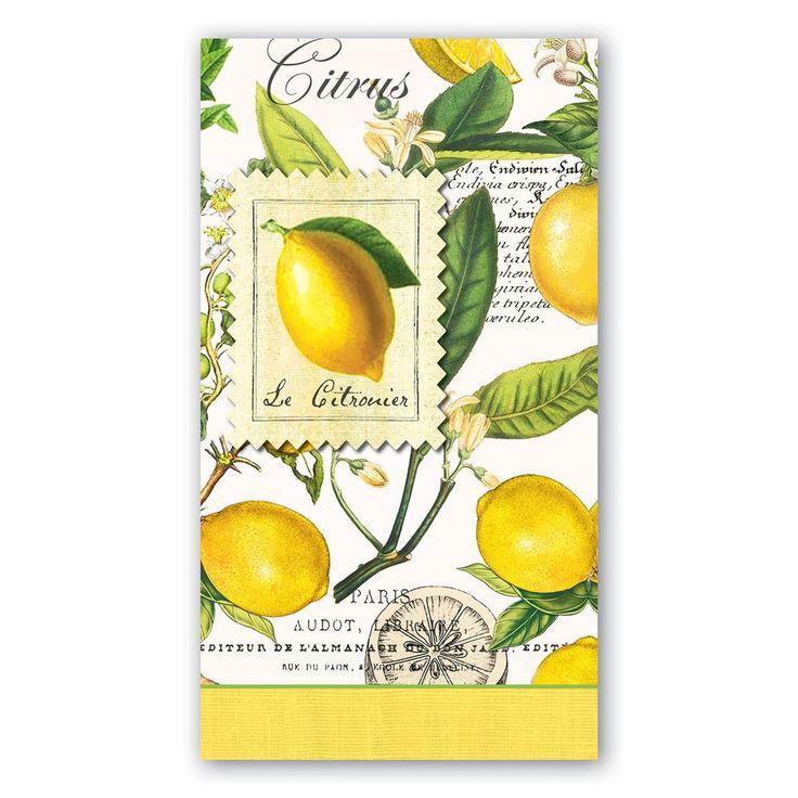 michel design lemon  decorative hostess napkins or guest towels . . . soft, triple-ply paper hostess napkins. Much appreciated hostess gift too!