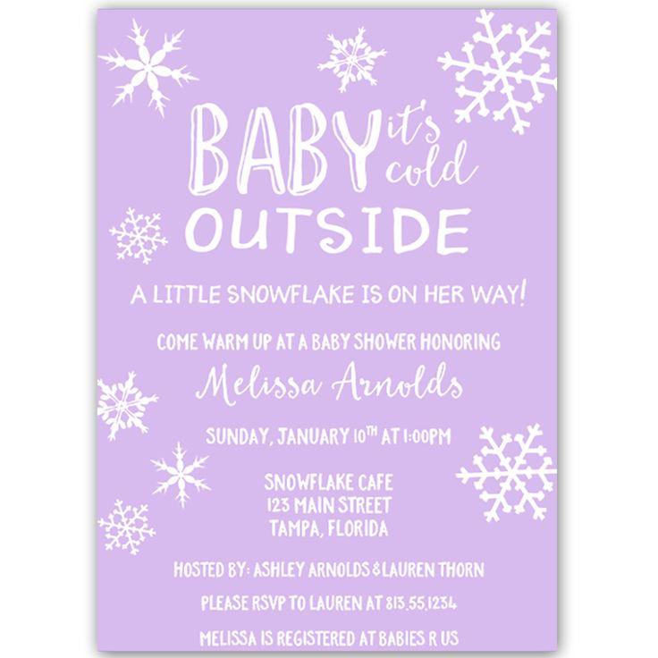little snowflake purple baby shower invitation