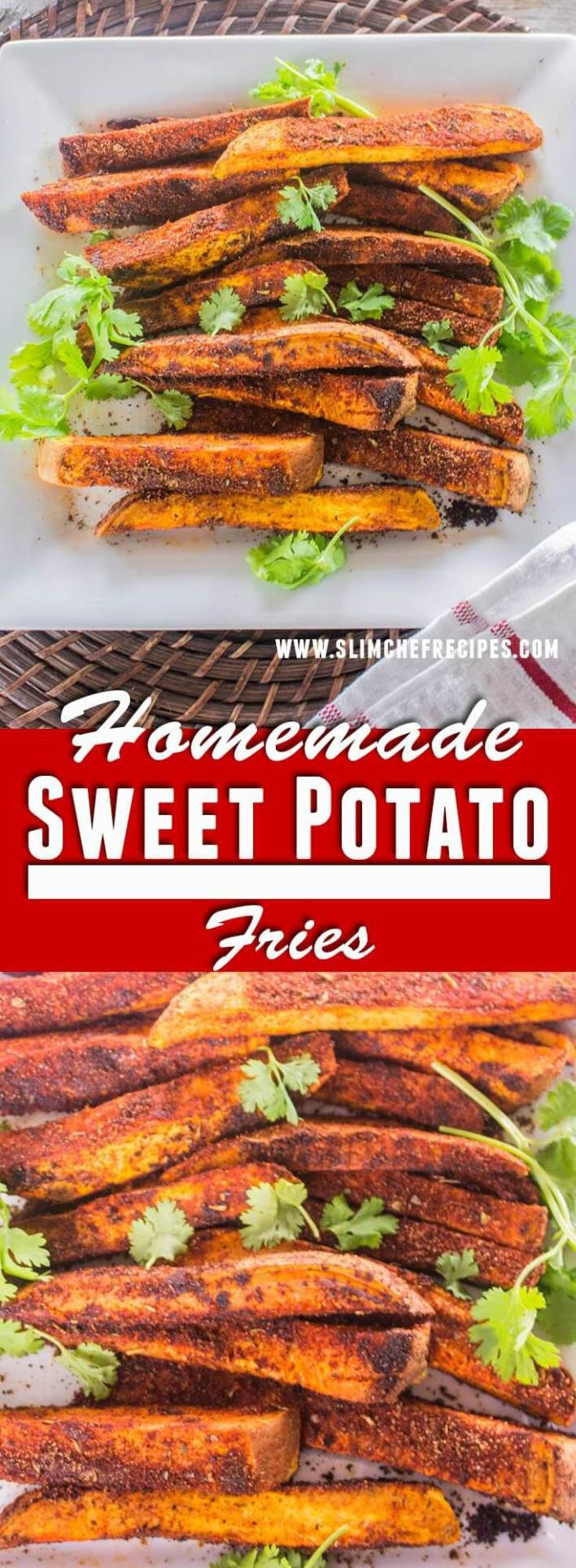 This homemade sweet potato fries recipe is a delicious oven baked snack that won't ruin your diet. It's a wonderful alternative to regular deep fried french fries | slimchefrecipes.com