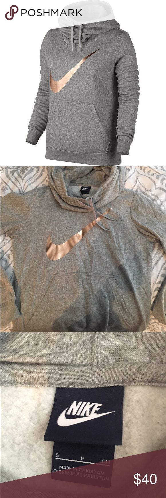 Nike gray and rose gold hoodie Nike gray and rose gold hoodie. Size: Small. Only been worn once super soft and comfy. Nike Tops Sweatshirts & Hoodies