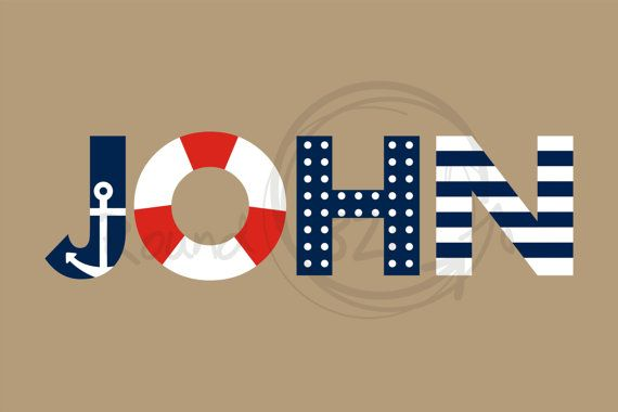 Personalized Nautical Wall Decal With Anchor Detail by Round321, $45.00