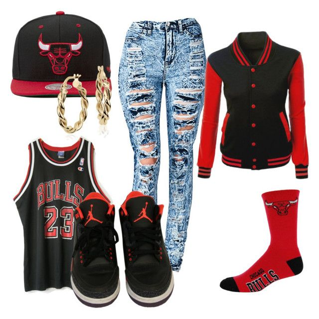 Chicago Bulls by fvalerie00 on Polyvore featuring polyvore, fashion, style, For Bare Feet, NIKE, Blue Nile, Mitchell & Ness, women's clothing, women's fashion, women, female, woman, misses and juniors
