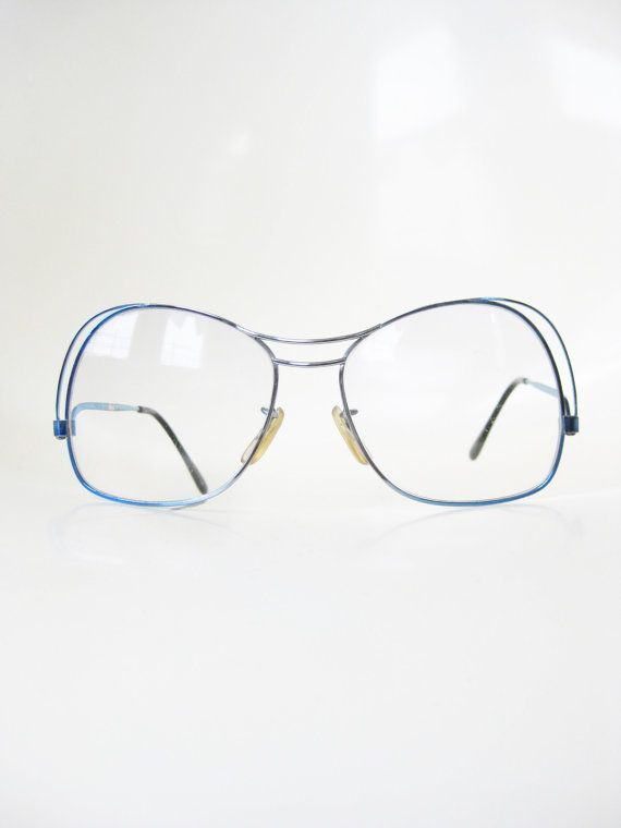 Vintage Tura 1970s Wire Rim Eyeglasses Glasses Womens Mens Unisex Ice Blue Pastel Light 70s Seventies Indie Hipster Chic Racer Racing