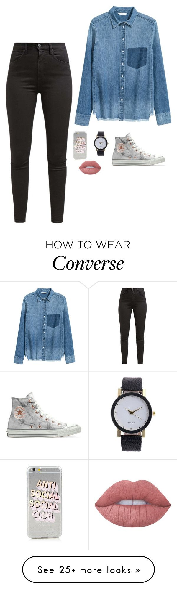 """Untitled #4127"" by if-i-were-famous1 on Polyvore featuring Levi's, Converse and Lime Crime"