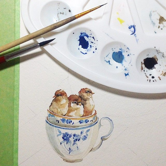 #Misha_illustration#watercolor#акварель#illustration#bird#love#воробьи#painting#drawing#flowers#kids