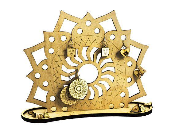 Mandala jewelry holder - wood organizer - engraved - lasercut - jewelry holder - wooden art
