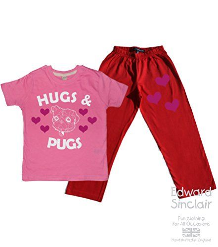 Children's Bubblegum T-Shirt & Red Long Pants Pyjama Set 'HUGS AND PUGS' with White & Pink Glitter print Edward Sinclair http://www.amazon.co.uk/dp/B00TU9QIMG/ref=cm_sw_r_pi_dp_US7Kvb1YQXTTX
