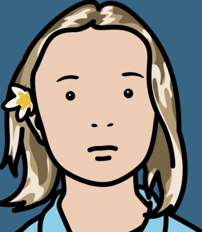 julian opie - elena, schoolgirl (with lotus blossom)