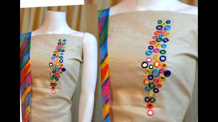 Creative Mirror Work designing Churidar/Kurti | Aari/Maggam Hand Embroid...
