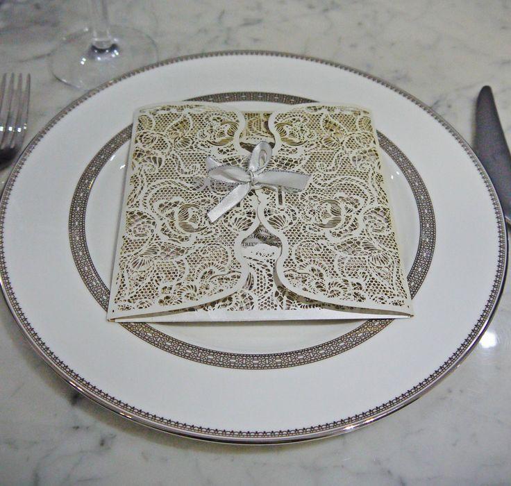 "Sydney laser cut wedding invitation design - ""Fiora"" on Vera Wang platinum Lace setting"