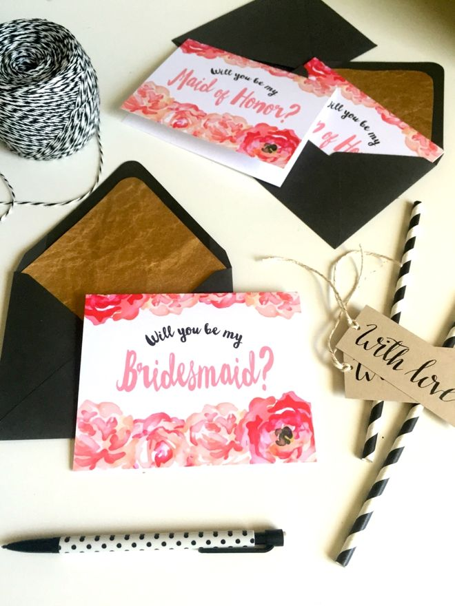 DIY -- FREE Will You Be My Bridesmaid, Maid of Honor and Matron of Honor cards by @katielane922