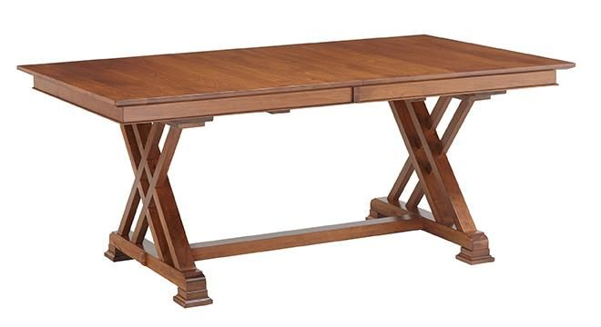Amish Heyerly Trestle Dining Table Make the Amish Heyerly Trestle Dining Table your choice for the main course. Select the wood, finish, thickness, edges and more.