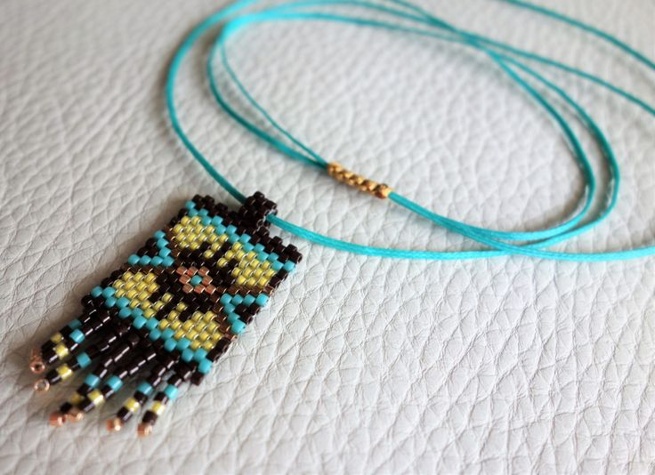 Tribal seed bead pendant with adjustable length, Yellow brown pendant, Beadwork necklace, Made in Greece, Bohemian style, Gifts for her by SouSouHandmadeArt on Etsy