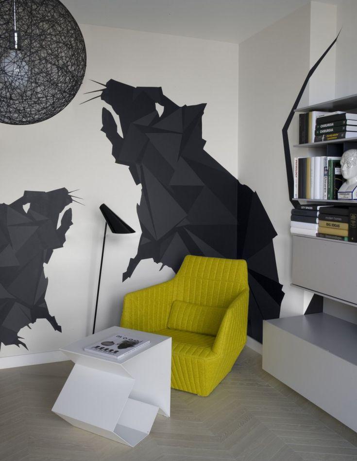 Apartment: Minimalist Krakow Apartment Designed by Morpho Studio, Krakow Apartment Reading Corner with Hand Painted Rat Decals by Morpho Studio