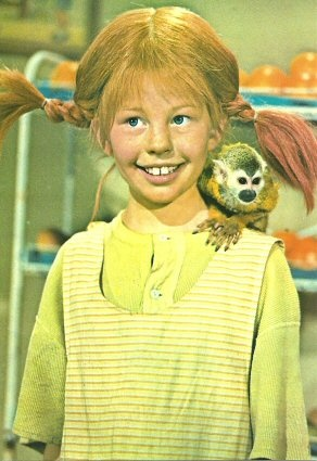 Pippi Longstocking! Watched this for the very first time at Frankclay Elementary in the lunchroom after all the tables were put away.  We had to bring a quarter to watch it on a Friday.