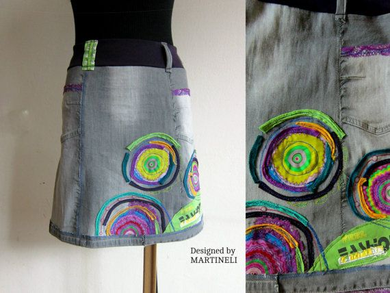 Crazy Patchwork Skirt Appliqued Denim Upcycled Clothing Denim Recycled Boho Skirt Gypsy Style Embroidered Skirt Summer Denim