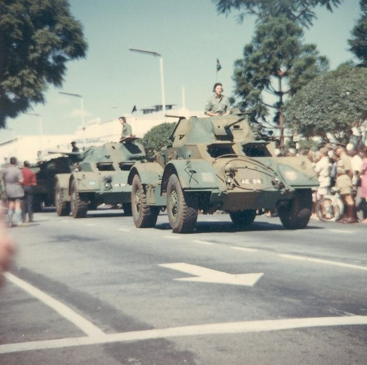 Photo from Norman Surgeon collection. 1st Battalion Royal Rhodesia Regiment have the Freedom of the City of Salisbury 1968. Staghound Armoured Cars formed were part of the Battalion's inventory of weapons