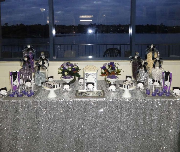 Purple Black White And Silver Birthday Party Ideas In 2019