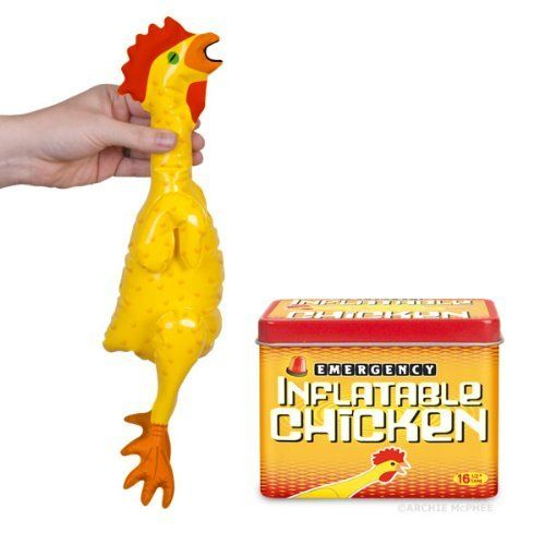 """Accoutrements Emergency Inflatable Chicken by Accoutrements. $7.89. Blow Into This Pullet, Pal Introducing our snazziest inflatable chicken ever, a major step beyond your basic plucked and flaccid rubber chicken. This one is bright yellow with orange detailing, a red comb and wattle and a wide-open mouth that you can practically hear squawking. Measures 16-1/2"""" long beak to feet and comes in a 3-1/4"""" x 2"""" x 2-1/2"""" tall tin conveniently labeled """"Emergency Inflatable Chicken."""" Sweet!"""