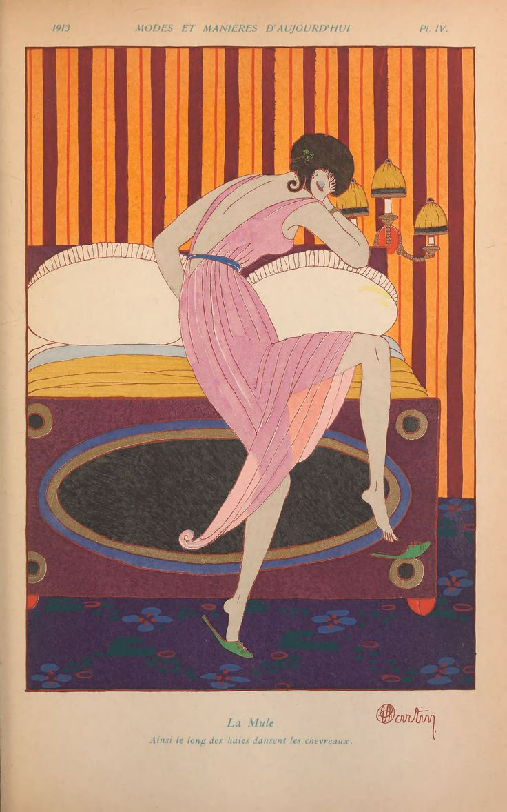 Beautiful art deco style fashion illustration by Charles Martin 1913