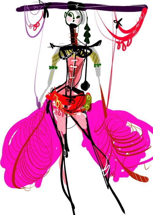 Christian Lacroix fashion illustration