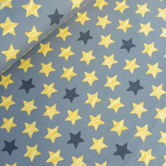 Soft, brushed French Terry with grey and golden coloured stars. Excellent quality.