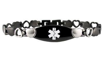 Onyx Eternity Black Medical ID Bracelet full size http://www.americanmedical-id.com/product/onyx-eternity-medical-ID-bracelet-387