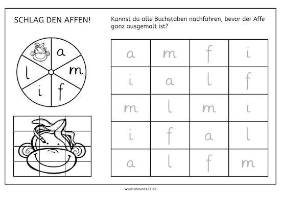 Schlag den Affen, Kreiselspiel, Buchstaben, Nachfahren, lernen