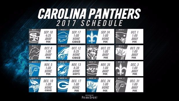 2017-18 CAROLINA PANTHERS NFL FOOTBALL SCHEDULE SEASON FRIDGE MAGNET (LARGE 4X5)