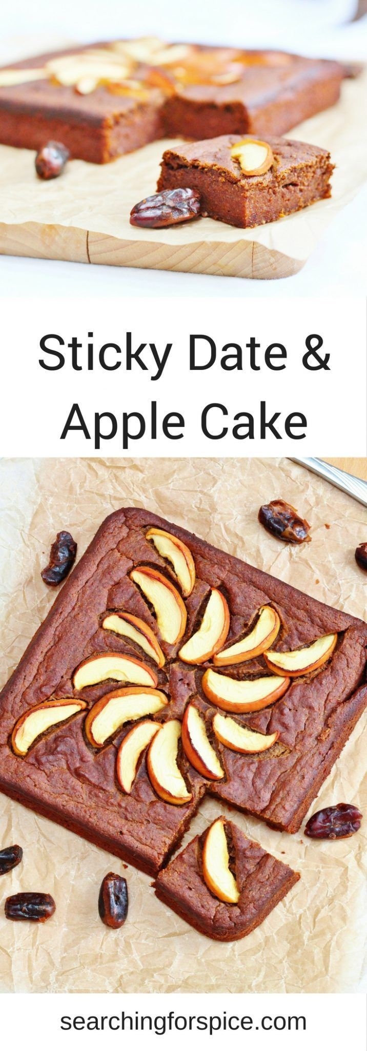 Sugar free sticky date and apple cake recipe. This healthy cake is perfect for a mid-morning or mid-afternoon snack. It's also a healthy choice after a workout
