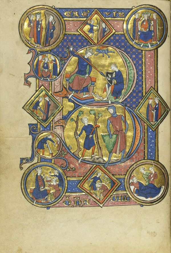 Initial B: David Playing the Harp and David and Goliath in the Wenceslaus Psalter, French, about 1250–60. Tempera colors, gold leaf, and ink on parchment, 7 9/16 x 5 ¼ in. The J. Paul Getty Museum, Ms. Ludwig VIII 4, fol. 28v - See more at: http://blogs.getty.edu/iris/sicily-the-international-island/#sthash.8kxGE3cG.dpuf