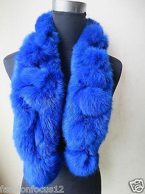 Fashion The latest color Real Best Whole rabbit fur handmade scarf Royalblue | eBay