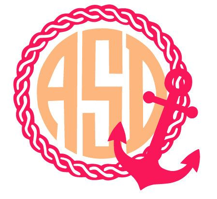 Anchor Rope Monogram Frame File for Cutting by CoralCharmBoutique