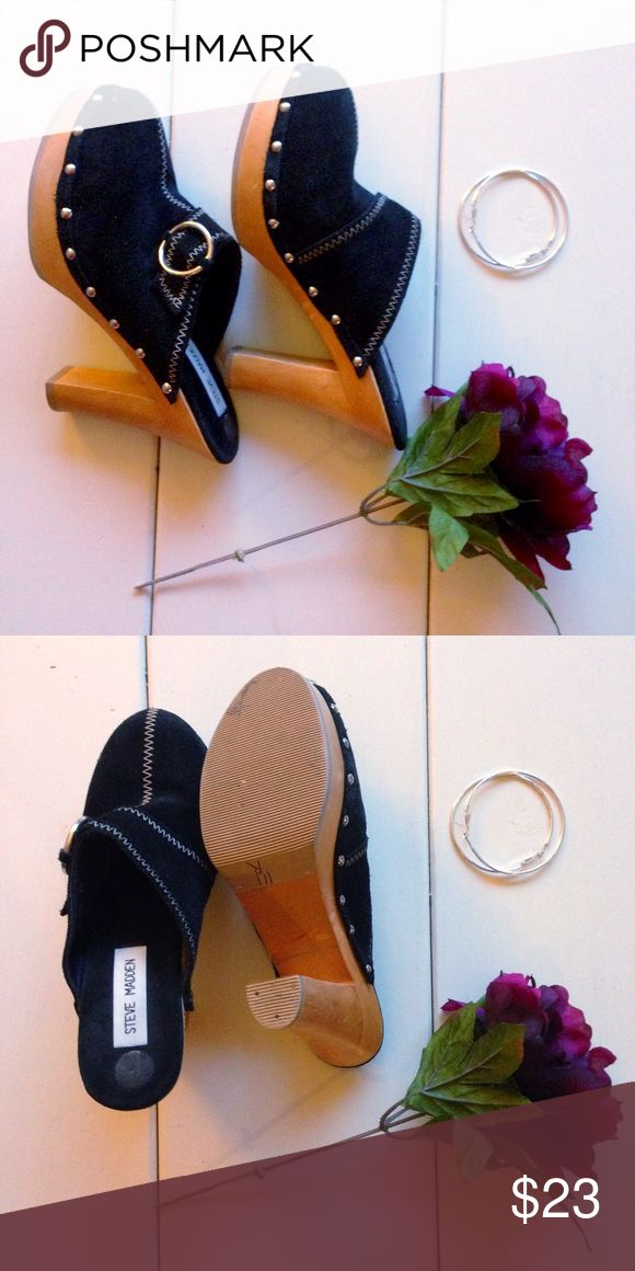 "Steve Madden Heeled Clogs  black suede  studs around edge  4"" wooden heel  minimal wear on inside solesilver buckle Steve Madden Shoes Mules & Clogs"