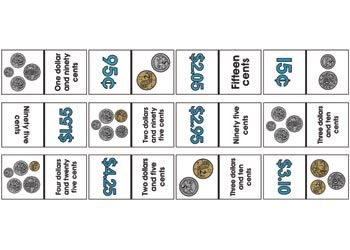 Money Dominoes Children will learn to match Australian money equivalents in three ways – numeral, written and pictorial form while playing an exciting game of dominoes