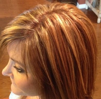 Golden blonde highlights in a warm brown base with various hues of auburn... Great Fall Color!!!!
