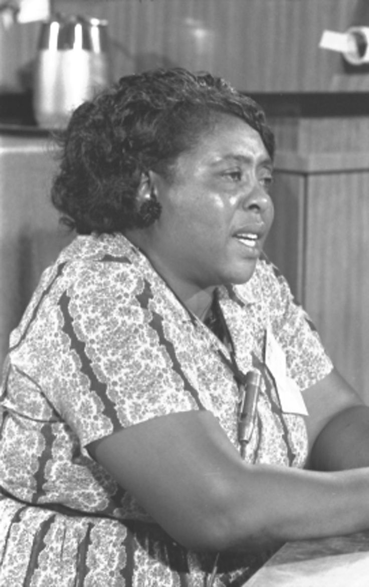 Fannie Lou Hamer (1917 - 1977)  Picture taken in 1964  Hamer was instrumental in organizing Mississippi Freedom Summer for the Student Nonviolent Coordinating Committee (SNCC), and later became the Vice-Chair of the Mississippi Freedom Democratic Party, attending the 1964 Democratic National Convention in Atlantic City, New Jersey, in that capacity. Photo credit: Library of Congress
