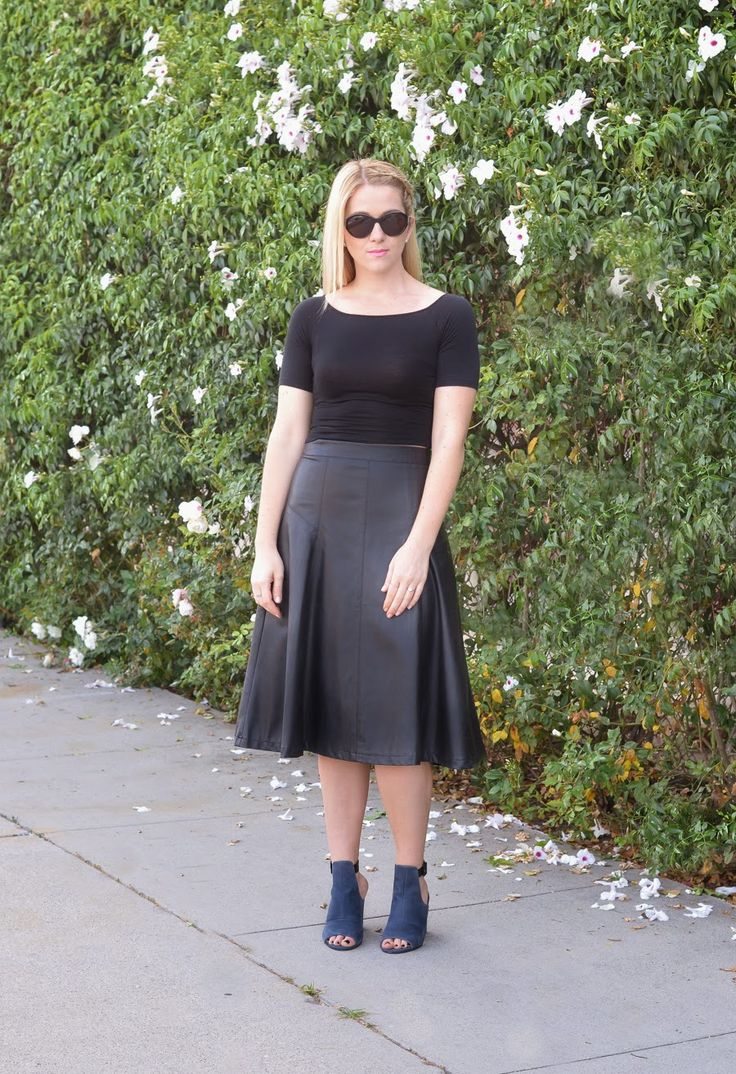 Faux LBD | How to Fake a Little Black Dress w. Leather Midi Skirt | Luci's Morsels :: LA Fashion Blog