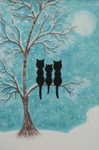 """Cats Family in the Snow"" by Claudine Peronne"