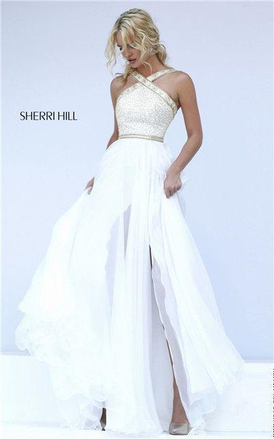 Sherri Hill 11319 Halter Neck Straps Beaded Long Slit Cheap Ivory Prom Dress 2016 [Sherri Hill 11319 Ivory] - $213.00 : Prom Dresses Outlet,Prom Dresses 2016